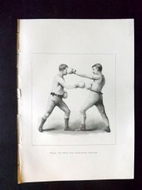 Badminton Library 1893 Antique Boxing Print. Stop For Right hand Lead-Off
